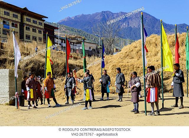 Playing archery in Bhutan