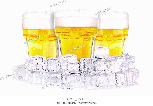 Beer glass in ice isolated