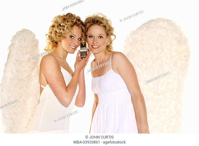 Women, young, blond, angel wings, smiling, telephones cheerfully, cell phone, together, semi-portrait, christmas, people, christmas-angels, angels, angels