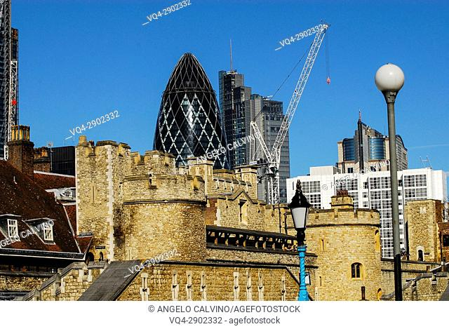 View of the Tower of London and of The Gherkin Building, London, United Kingdom, Europe