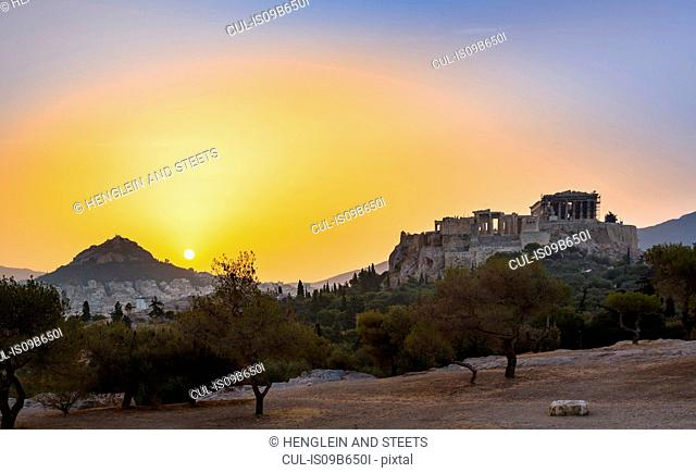 Ruins of the acropolis at sunset, Athens, Attiki, Greece, Europe