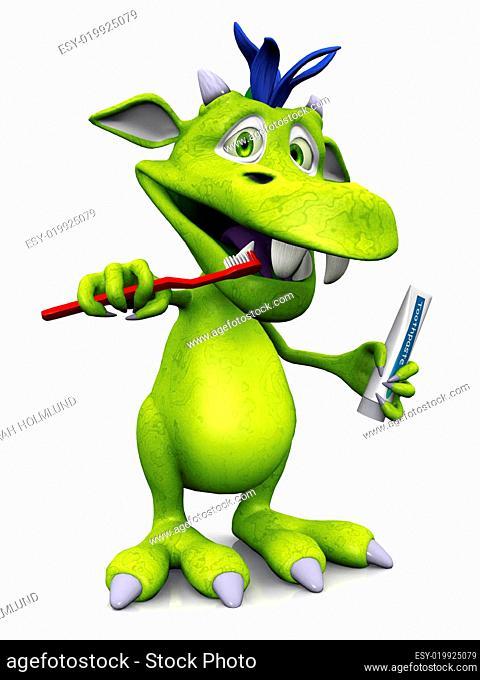 Cute cartoon monster brushing his teeth