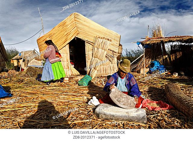 uros island in titicaca lake.peru