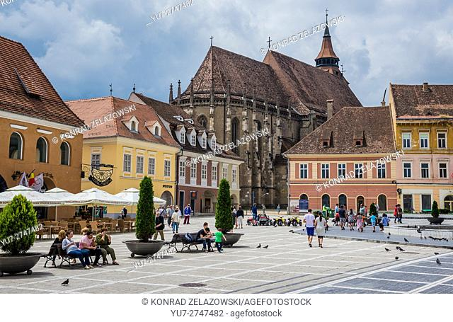 Black Church (Romanian - Biserica Neagra) in Brasov, Romania. View from Council Square