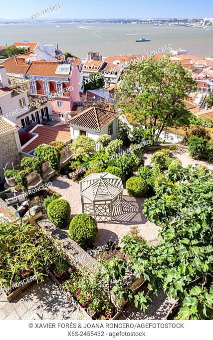 Aerial view of Lisbon from Castelo de San Jorge - St. George Castle -, Lisboa, Portugal