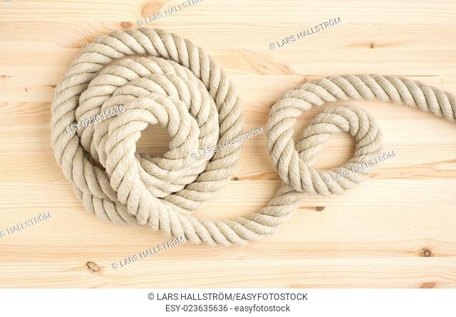 Strong nautical rope in close-up. Symbol of strength, connection and marine equipment