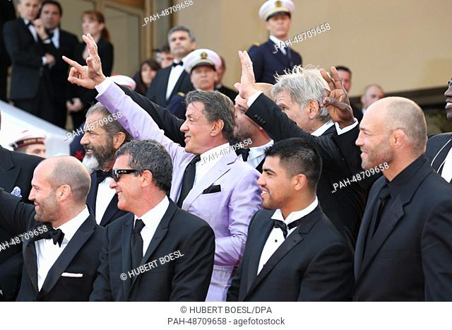 "Mel Gibson (l-r), Antonio Banderas, Sylvester Stallone, Victor Ortiz, Harrison Ford and Jason Statham attend the premiere of """"Expandables 3""""during the 67th..."