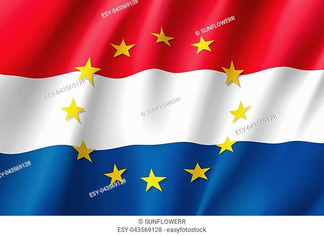 The Netherlands national flag with a circle of European Union twelve gold stars, solidarity and harmony with EU, member since 1 January 1958