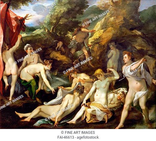 Diana and Actaeon by Heintz, Joseph, the Elder (1564-1609)/Oil on copper/Baroque/ca 1595/Schwitzerland/Art History Museum, Vienne/40x49/Mythology