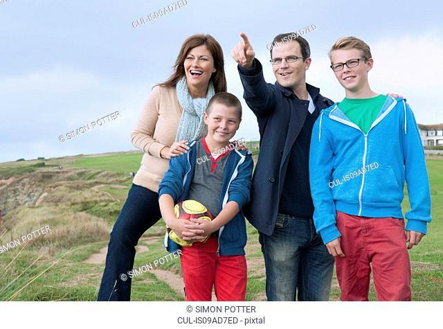 Portrait of family on sand dunes