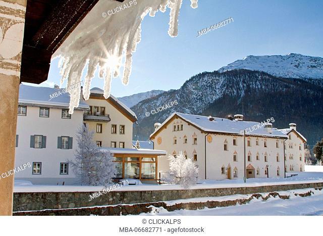Europe, Switzerland, Engadin. Winter frozen landscape of La Punt, Swiss Alps