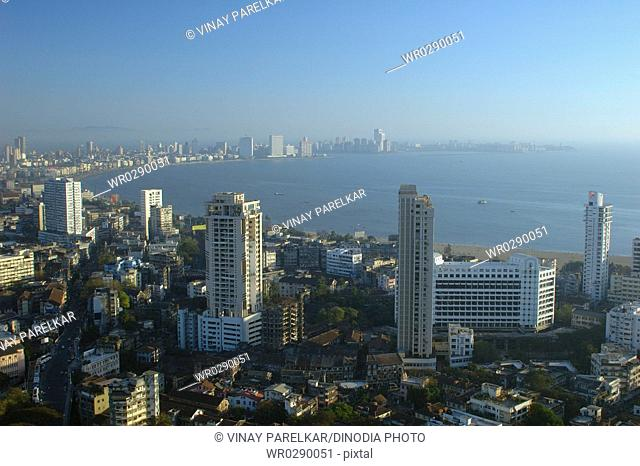 Aerial view of central Mumbai city showing Marine drive queens necklace and building , Bombay Mumbai , Maharashtra , India