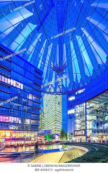 Interior view, illuminated Sony Center,Potsdamer Platz, Berlin, Germany