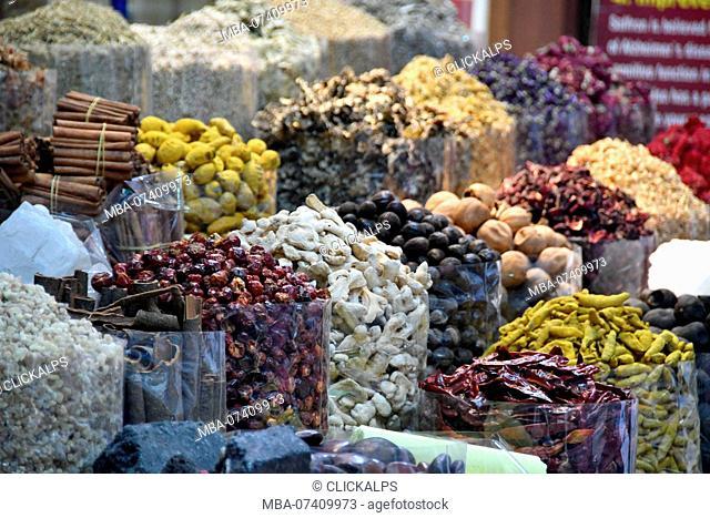 Spices at Dubai Market, souq, United Arab Emirates, Emirati, Middle East, Middle Eastern