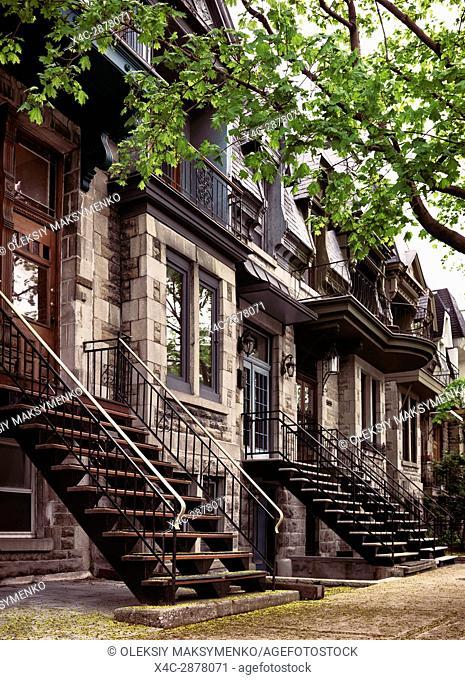 Row of historic townhouses, French style architecture houses, on Avenue Laval in Montreal, Quebec, Canada. L'avenue Laval, Ville de Montréal, Québec, Canada