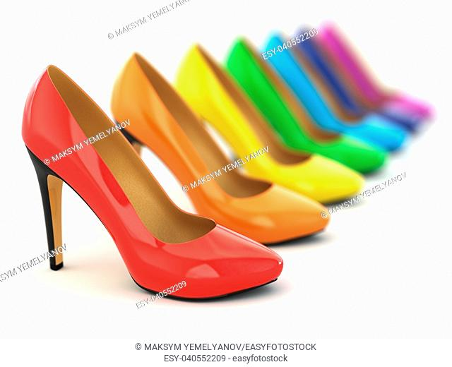 High heels shoes on white background. 3d