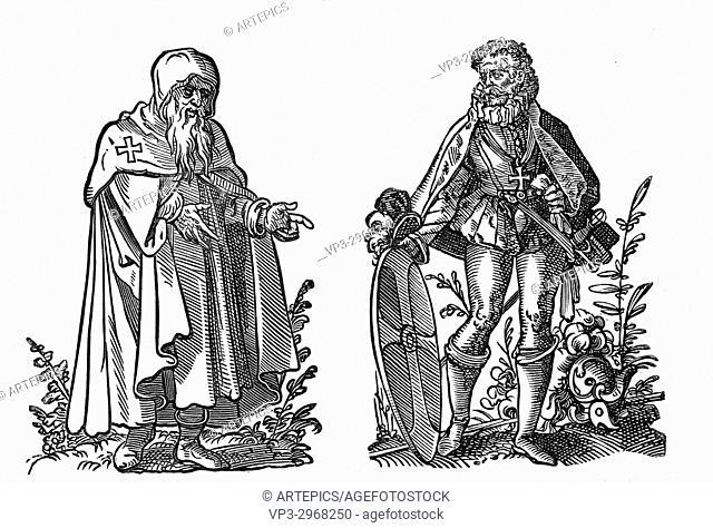 Jost Amman - : Knight of St John of Jerusalem, Right: Knight of Rhodes. 16th century woodcut