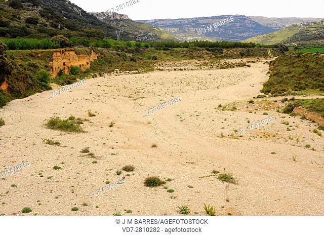 Arroyo or wash is a dry creek that temporarily flows after rains. This photo was taken in Rambla Carbonera, Castellon, Comunidad Valenciana, Spain