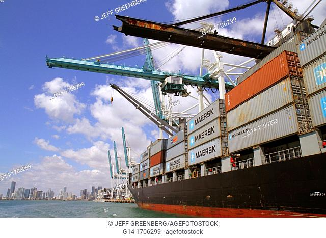 Florida, Miami, Biscayne Bay, Port of Miami, Dodge Island, cargo container ship, cranes, Maersk, Sealand, city skyline