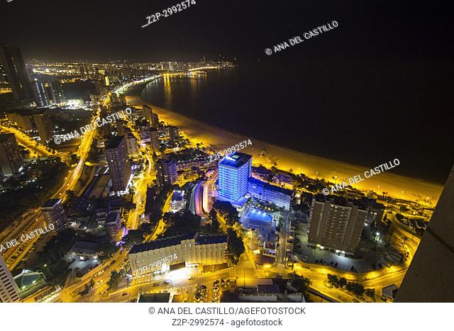 Benidorm by night in Alicante province Spain on November 25, 2017