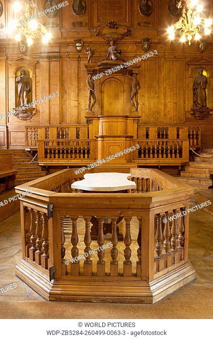 Interior the anatomy theater, University of Bologna, Bologna, Emilia-Romagna, Italy
