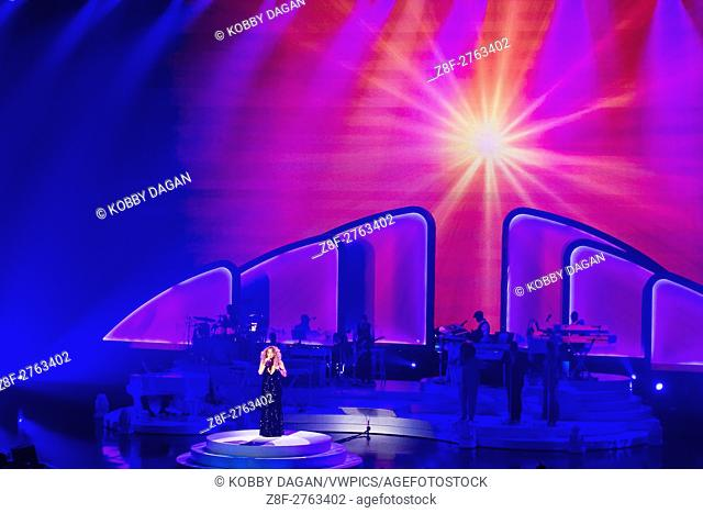 Singer Mariah Carey performs during the launch of her residency 'MARIAH 1 TO INFINITY' at The Colosseum at Caesars Palace in Las Vegas, Nevada