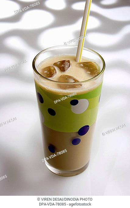 Drink , Cold coffee with ice and straw against white pattern background