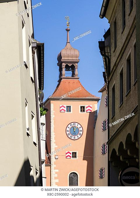 Regensburg in Bavaria, the Old Town is listed as UNESCO World Heritage. The medieval old town, the Brueckturm. Europe, Central Europe, Germany, Bavaria, October