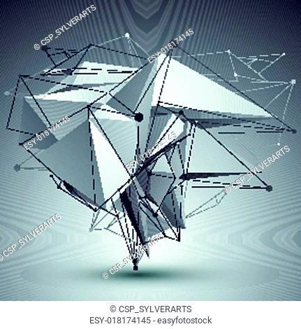 Contemporary techno black and white stylish construction, abstra