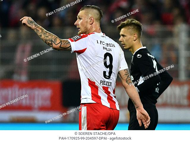 "Union's Sebastian Polter celebrates his 5-0 goal during the German 2. Bundesliga match between 1. FC Union Berlin and 1. FC Kaiserslautern at the Stadium """"Alte..."