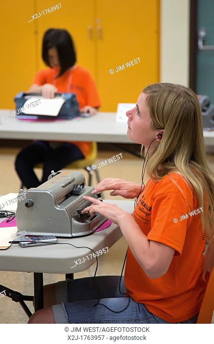 Los Angeles, California - Blind students participate in the National Braille Challenge, a competition that tests their ability to transcribe, type