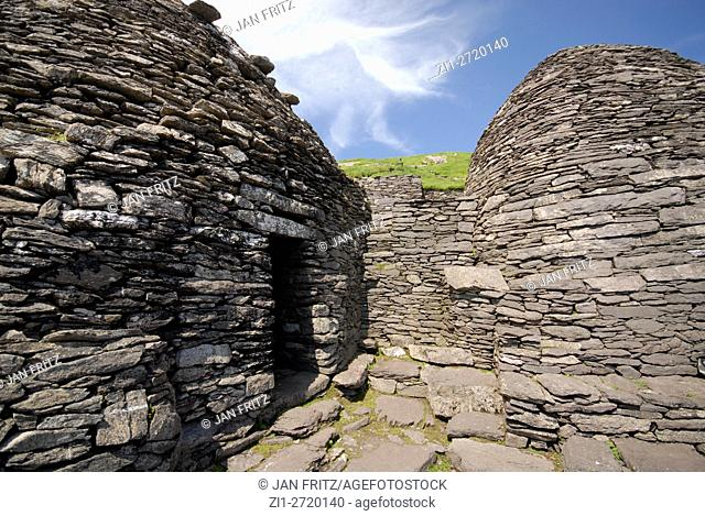 beehives or former settlements from monks at island Skellig Michael in Ireland