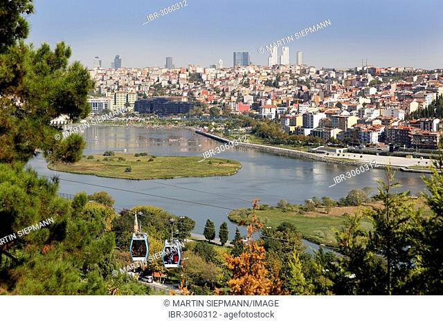 Cable car to Piyer Loti, view from Pierre Loti Hill across the Golden Horn to Sisli