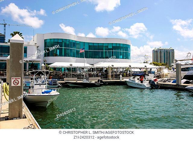 Marina Jack Restaurant and Sarasota Yacht Club on the waterfront of Sarasota Bay in SW Florida