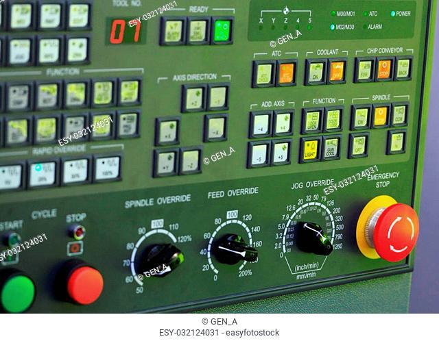 Operation panel of CNC machine. Selective focus