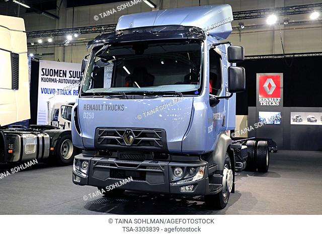 Helsinki, Finland. 09 May, 2019. Renault Trucks D for regional transport displayed on Transport-Logistics 2019, the largest logistics and transportation...