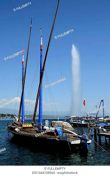 Geneva marina and Jet d'Eau (water jet) landscape, Swiss