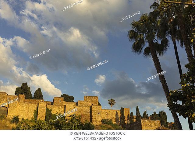 Malaga, Costa del Sol, Malaga Province, Andalusia, southern Spain. The Moorish Alcazaba, late afternoon