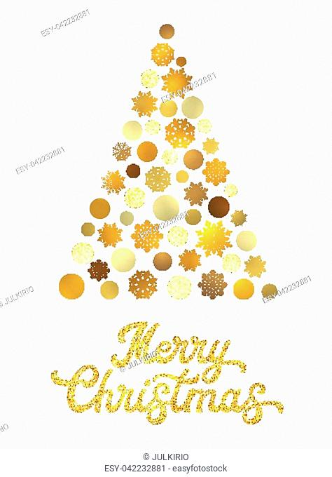 Christmas tree isolated on white background with gold glittering texture hand lettering design. Stylish Xmas card with golden circles and snowflakes