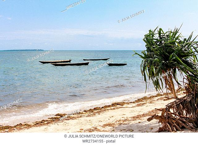Tanzania, Zanzibar, Pemba Island, Deserted Beach, Boat, Deserted Beach of Pemba Island