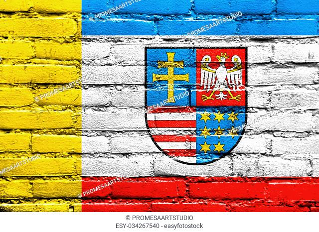 Flag of Swietokrzyskie Voivodeship, Poland, painted on brick wall