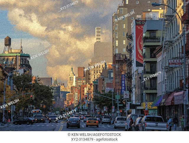 New York, New York State, United States of America. View down The Bowery