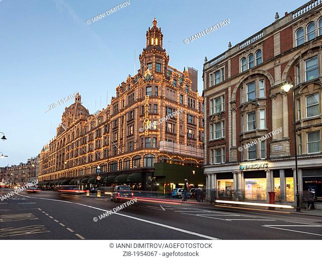 Harrods Department store at the evening,Brompton Street,Knightsbridge,London,England