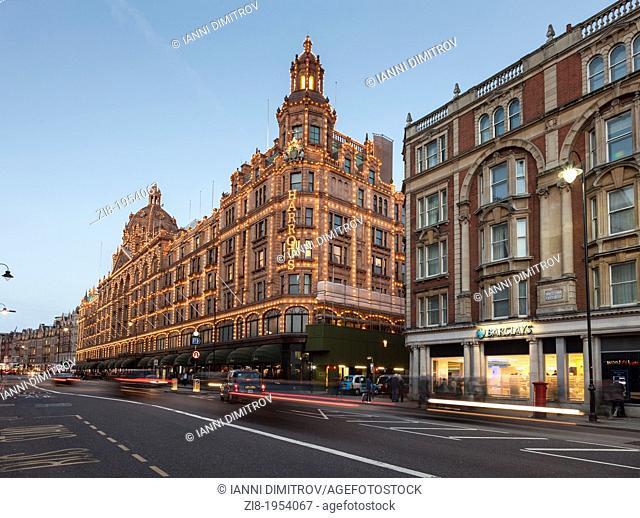 Harrods Department store at the evening,Brompton Street,Knightsbridge,London,England
