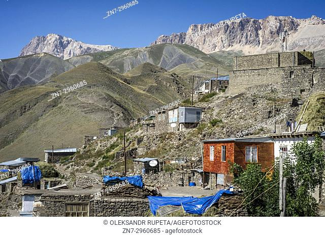 Daily life in the highest village of Azerbaijan. Houses on the top of Khinalig village, Quba region, Azerbaijan. Khinalig is an ancient village deep in the...