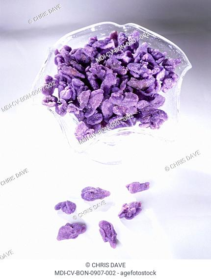 Violet candies, a Toulouse specialty made from fresh violets crystallized in sugar