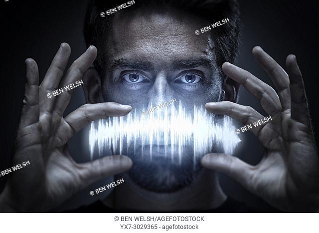 Portrait of a DJ artist holding a audio waveform