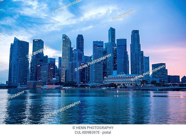 Skyline of Singapore, at sunrise