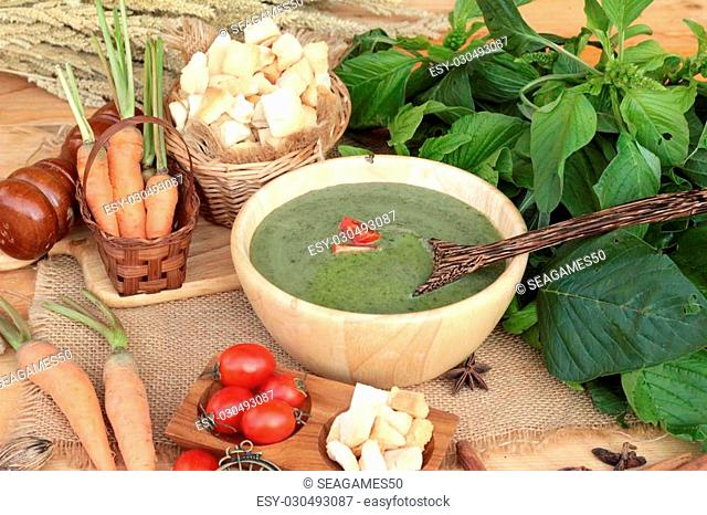 Spinach soup and healthy food of delicious