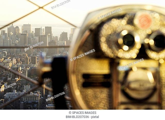 Downtown Manhattan Behind Coin Operated Binoculars